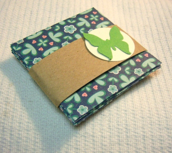Set of 5 Mini Notecards with Envelopes 2 x 2 Green and Blue with Flowers and Hearts