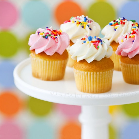 Mini Cupcakes with Swirled Icing and Sprinkles on Cake Stand Square Fine Art Photograph 8x8