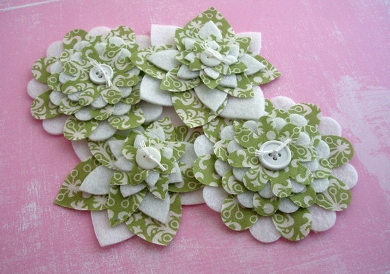 Spearmint Green Damask - Fabric and Felt Flowers