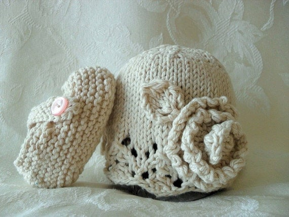 COTTON HAND KNITTED Ivory Lace Cloche with Matching Cross-Strapped Booties - Choose Your Style