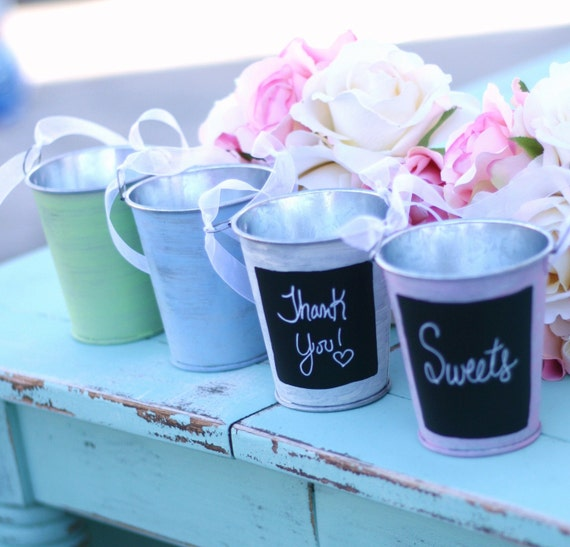 SET of 50 Spring Summer You Pick The Color Pink Blue Green Ivory Tins With Chalkboard Fronts Guest Favors Candy Bar Outdoor Vintage Circus Shabby Chic Wedding Decorations