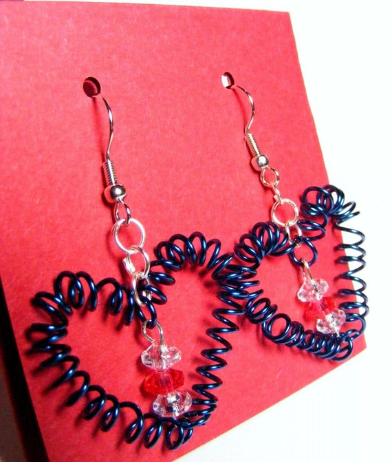 Handmade Blue Valentine Swirl Earrings