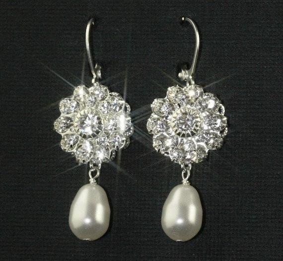 Vintage Glamour Bridal Earrings -- Silver, Rhinestone and Pearls in all Swarovski