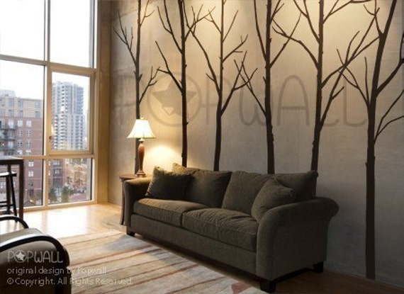 Tree Wall Decals Wall Stickers Tree Decal- Winter Trees - set of 6 trees with 10 FREE FLYING BIRDS - 036