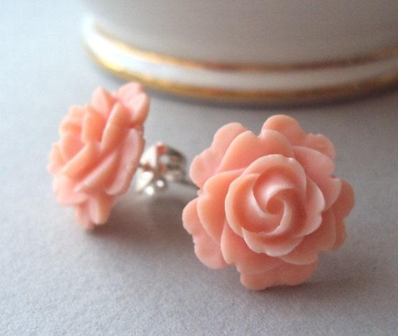 Peach Rose stud earrings