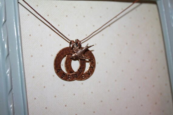 Personalized copper colored necklace with names and bird charm