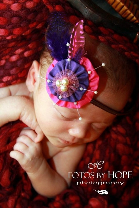 Tickle me Pink and Purple Headband,  Infant ,  Adult Headband, yoyo