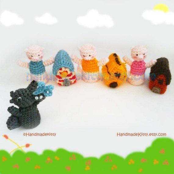 Three Little Pigs Fairy Tale Finger Puppets Amigurumi PDF Crochet Pattern