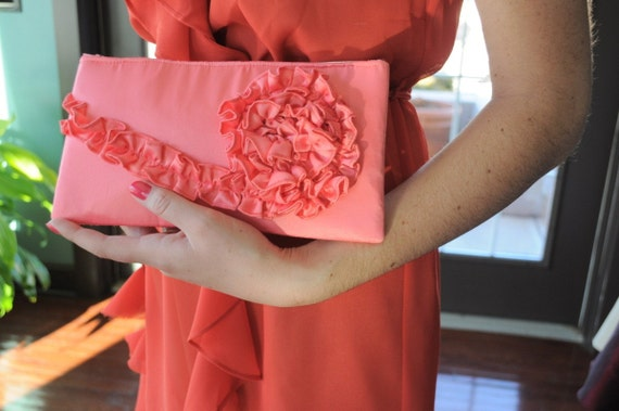 Clutch - The Kimberly Clutch - Coral Satin
