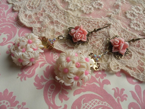 FRILLS shabby old pink flower earrings recycled reclaimed assemblage ooak one of a kind