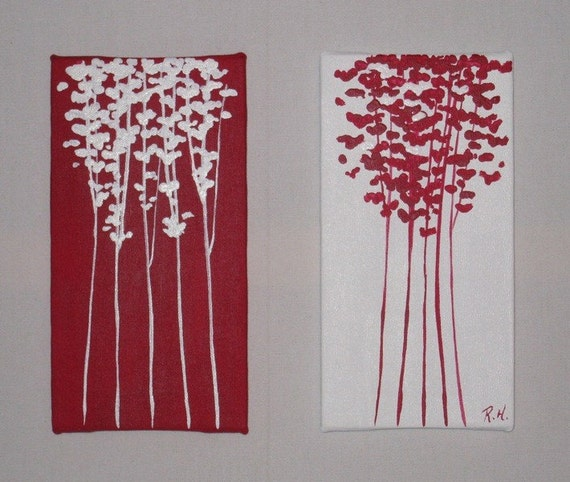 Mini Reds 2 piece 5x9 Original Paintings
