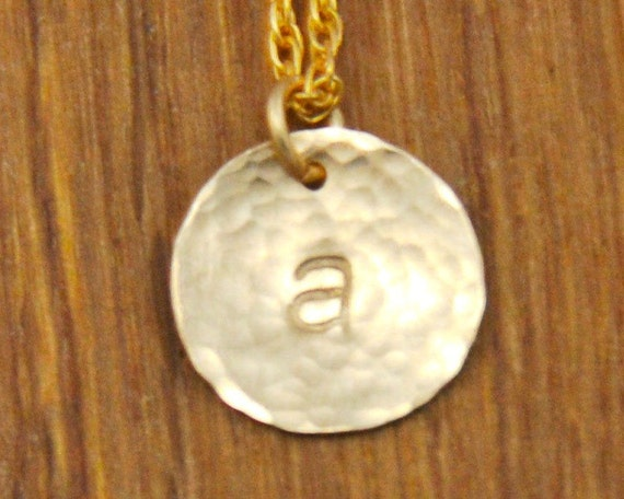 Gold Initial Monogram Disc Charm Necklace - Custom Personalized Hammered
