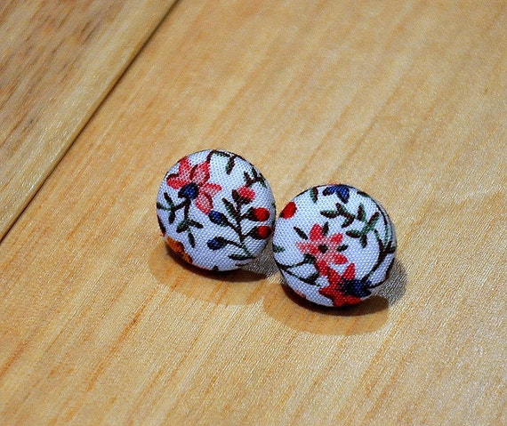 summer flower fabric button earrings- buy 3 get 1 free