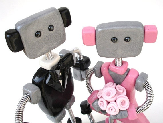 MADE TO ORDER Wedding Cake Topper Robot Bride and Groom 7 inch - Polymer and Wire
