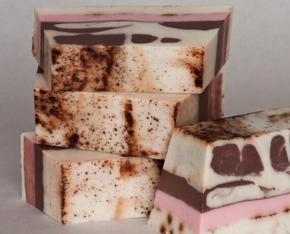 Chocolate Raspberry Tiramisu, Hand-Crafted Soap Dessert Vanilla Cocoa Valentine Gift Pink Brown