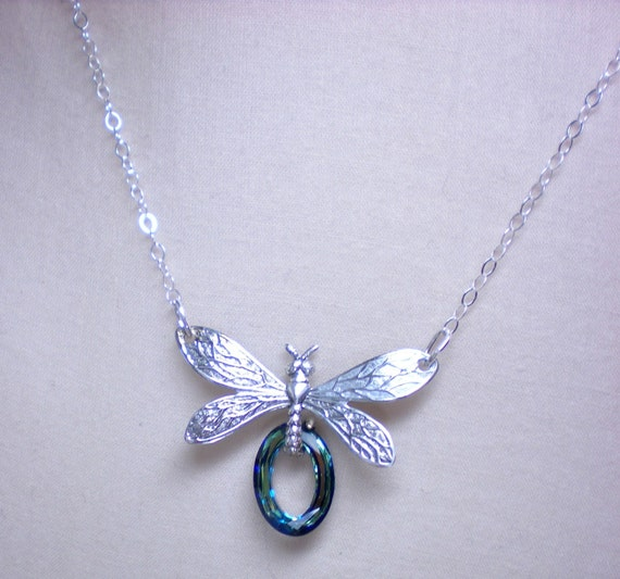 Royal Dragonfly- Swarovski Crystal Sterling Silver Necklace
