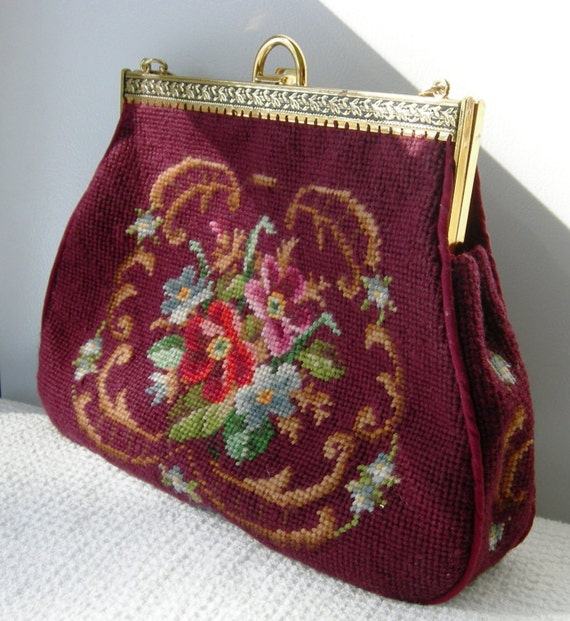 Floral Needlepoint Vintage Purse