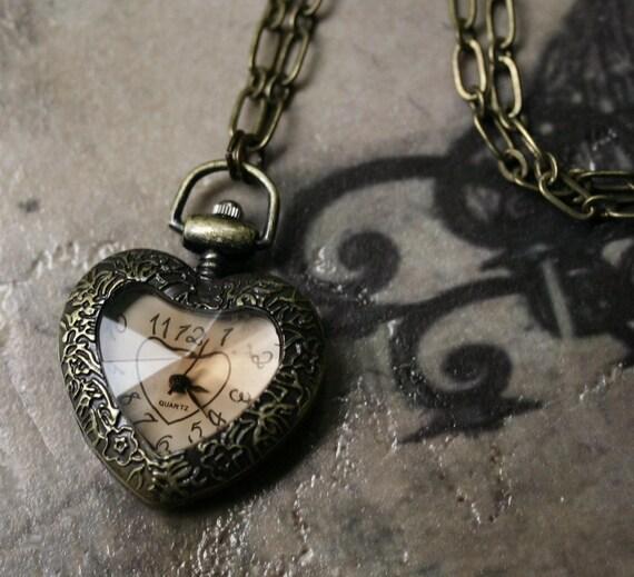 Victorian Valentine Heart Pocket Watch Necklace