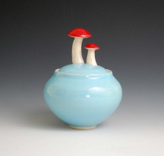 mushroom jar, blue