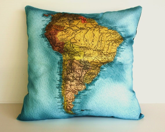 SOUTH AMERICA map cushion, Organic cotton Vintage atlas map , cartography, 16 inch, 41cm