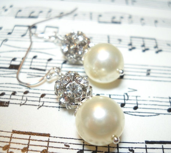 Swarovski Pearl and Genuine Swarovski Crystal Ball Sterling Silver Earrings