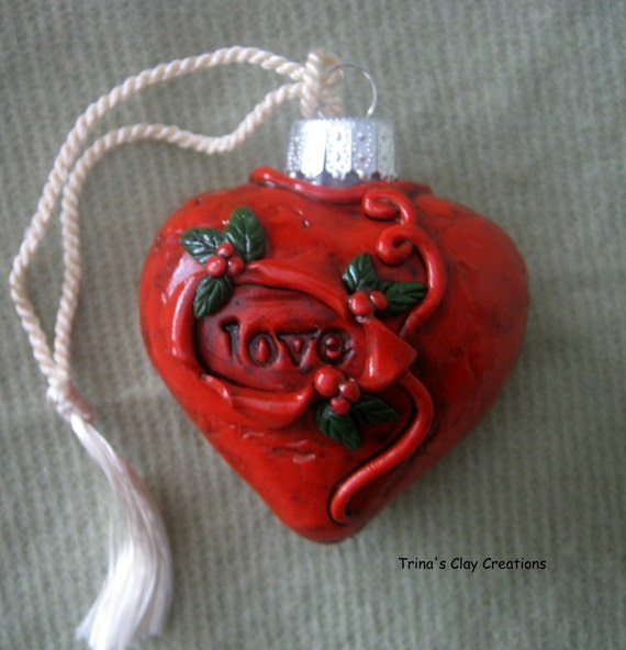 Polymer Clay Heart Love Ornament