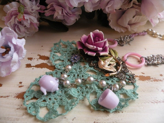 reserved for my bud AFTERNOON TEA shabby rose necklace lilac vintage crochet teapot teacup hummingbird ooak one of a kind spring garden fresh