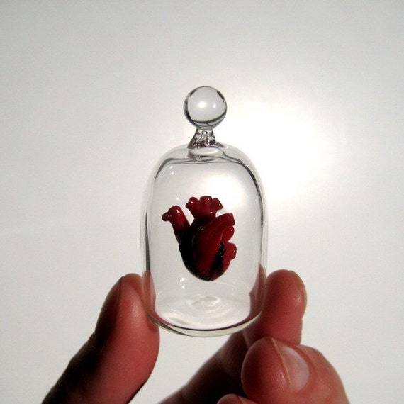 Heart in a Jar, Hand Blown Glass Miniature, Anatomically Correct Heart