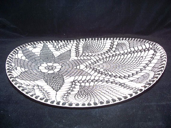 Ceramics, Art Pottery, Platter in  Black and White