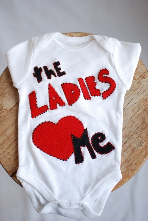 ready to ship, Ladies love me onesie long sleeve, valentines day, boy,