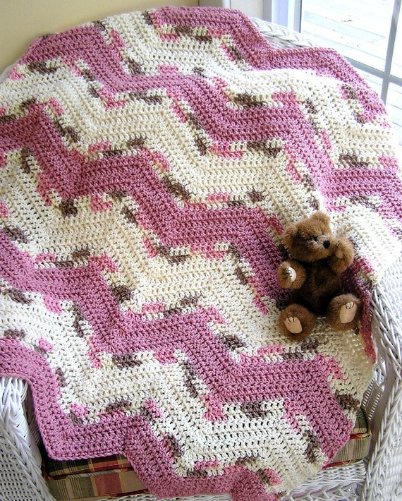 Baby / toddler / blanket / afghan / lap robe / ripple / neopolitan ombre variegated / aran cream / soft rose / crochet / handmade