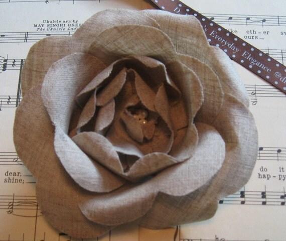 handmade linen rose pins
