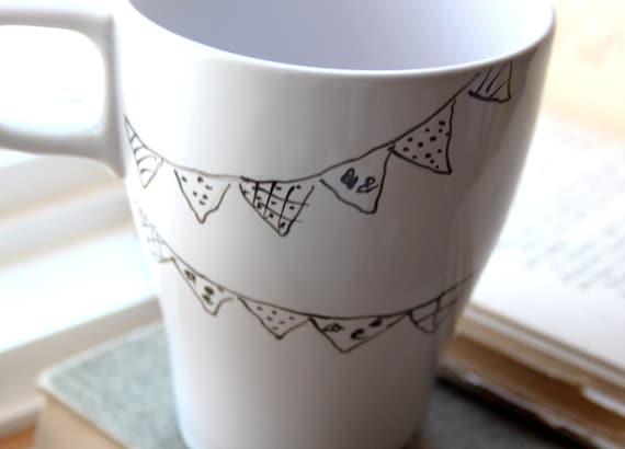 Celebration Mug- Hand painted ceramic mug in black and white. Dishwasher safe, non-toxic inks.
