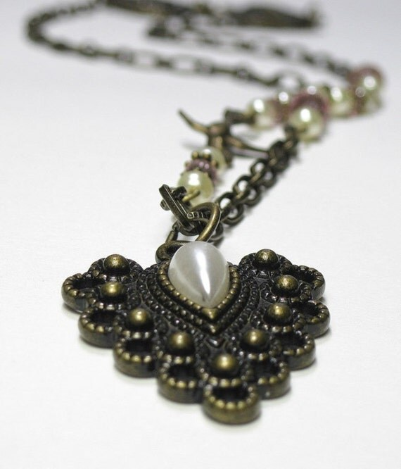 Victorian Vintage Style Pearl Swarovski Pendant Necklace