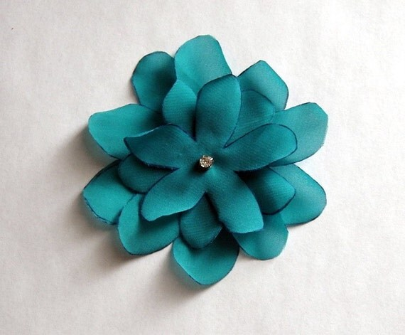 Five Petaled Chiffon Flower Brooch Shoe Clip Hair Clip Customizable Size and Color