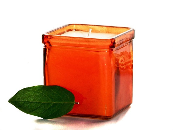Sunrise Orange Soy Candle in Recycled Glass Container