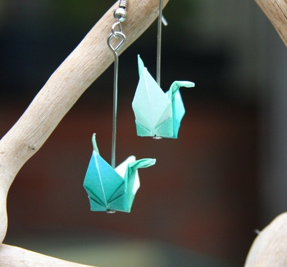 A unique set of handmade origami crane earrings