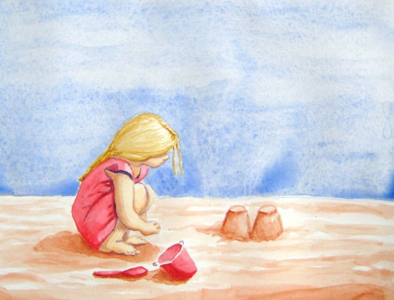 Building Sand Castles  -  8x10 inch Fine Art Print of my Original Watercolor Painting