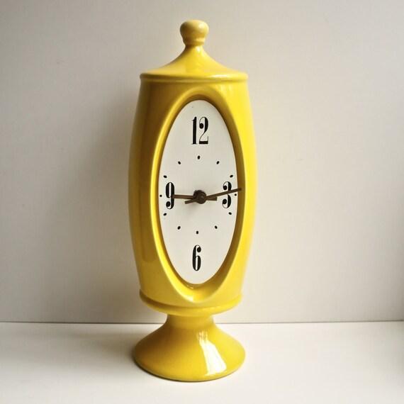 1970s VOHANN Yellow Ceramic Clock