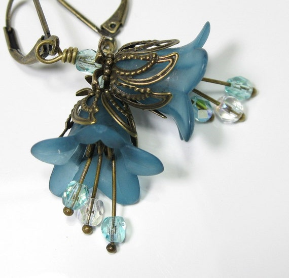 Dark Cyan Vintage Style Flower Earrings