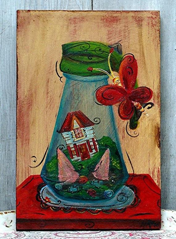 Original Folk-Art Painting - Vintage Syrup Pitcher Terrarium