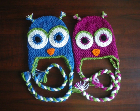 Twin owl hat ear flap set - Blue and Magenta with fern green trim - All sizes available
