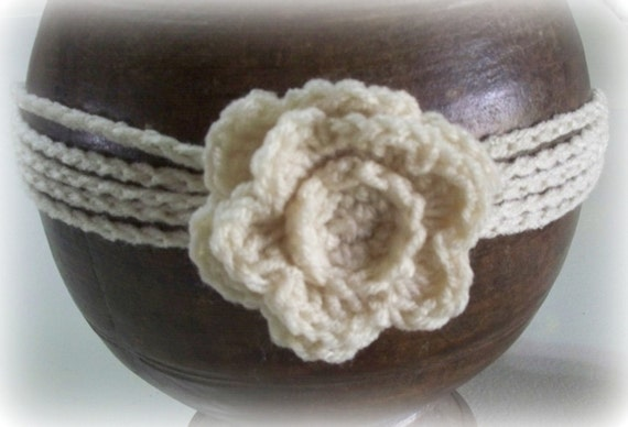 Off White Five Strand Crocheted Headband with Removable Flower
