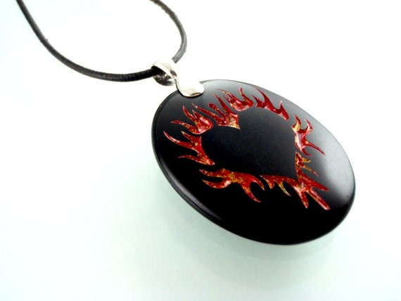 A Hunka Hunka Burning Love - Engraved Black Onyx Stone Pendant