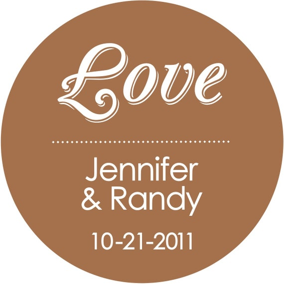 Love Personalized Round Wedding Stickers Labels Glossy