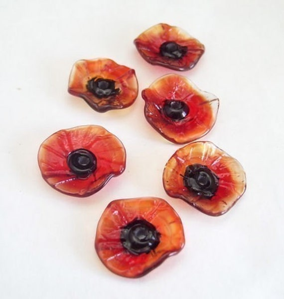 Original Fairy Flowers lampwork glass floral disc beads - Poppy