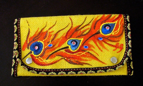 Handpainted Peacock Inspired Yellow Jute Clutch/Purse