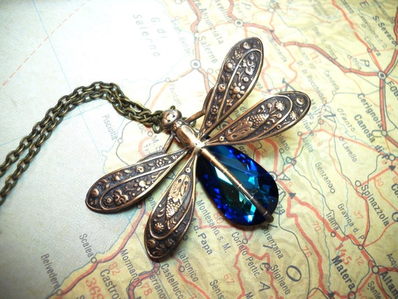 Mystical Dragonfly- Swarovski Bermuda Blue Crystal Antique Brass Necklace