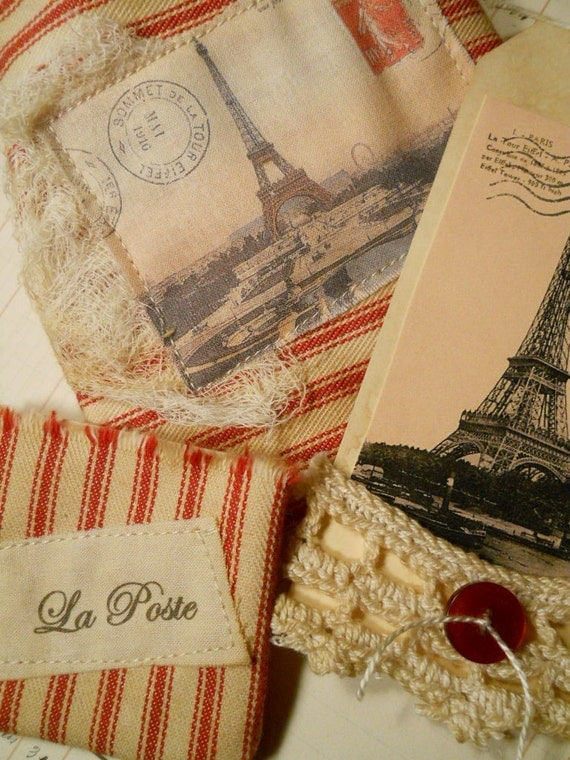 La Tour Eiffel Red Ticking Set