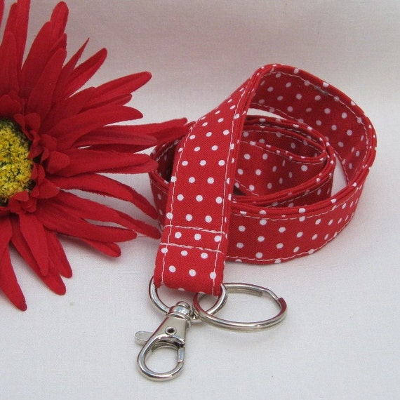 LANYARD ID BADGE Key Holder - Red with White Mini Polka Dots